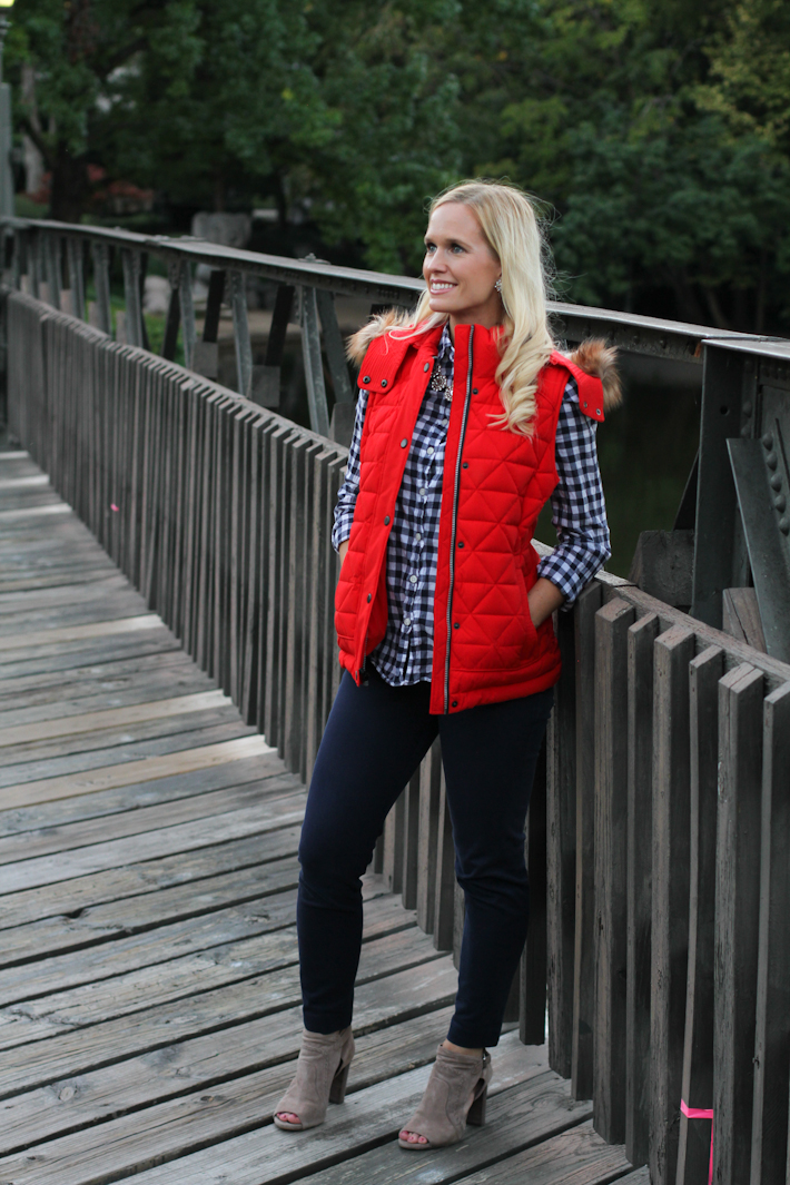 fall outfit, red vest || joyfully so