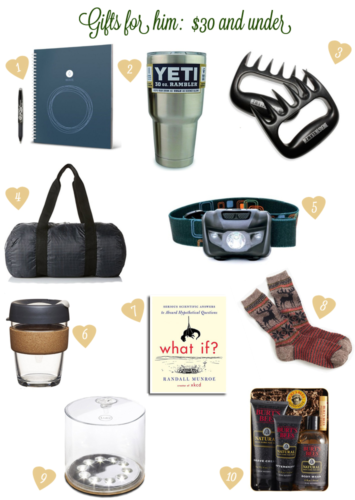 Gifts for him: $30 and under
