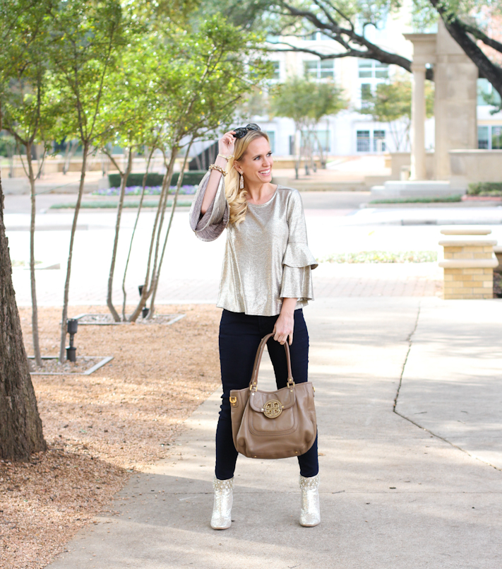 Winter Metallic Outfit | Gold on gold | Metallic foil top with gold luxurious booties and accessories | Winter Fashion 2018 or Casual New Years Eve